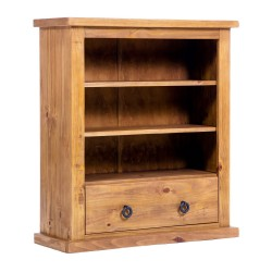 Farmhouse Low Wide Bookcase With Drawer - Self Assembly