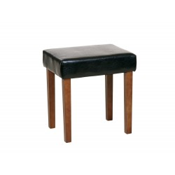 Milano Stool In Black Faux Leather, Dark Wood Leg