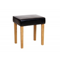 Milano Stool In Black Faux Leather, Light Wood Leg