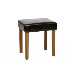 Milano Stool In Black Faux Leather, Med Wood Leg