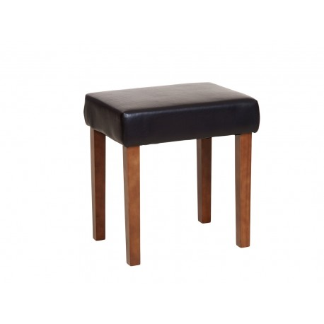Milano Stool In Brown Faux Leather, Dark Wood Leg