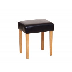 Milano Stool In Brown Faux Leather, Light Wood Leg
