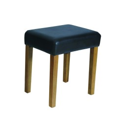 Milano Stool In Brown Faux Leather, Med Wood Leg