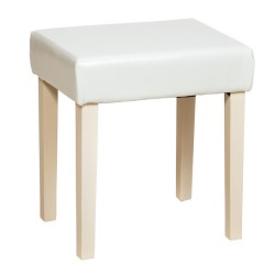 Milano Stool In Cream Faux Leather, Cream Leg