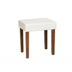 Milano Stool In Cream Faux Leather, Dark Wood Leg
