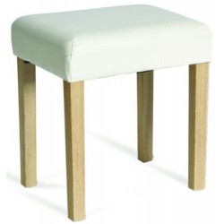 Milano Stool In Cream Faux Leather, Light Wood Leg