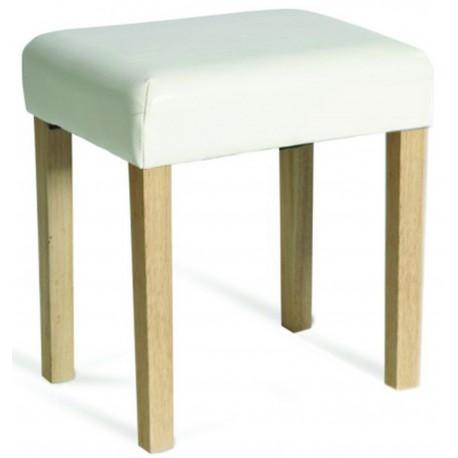 Milano Stool In Cream Faux Leather, Light Wood Leg