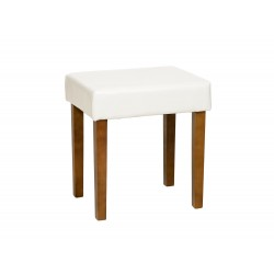 Milano Stool In Cream Faux Leather, Med Wood Leg