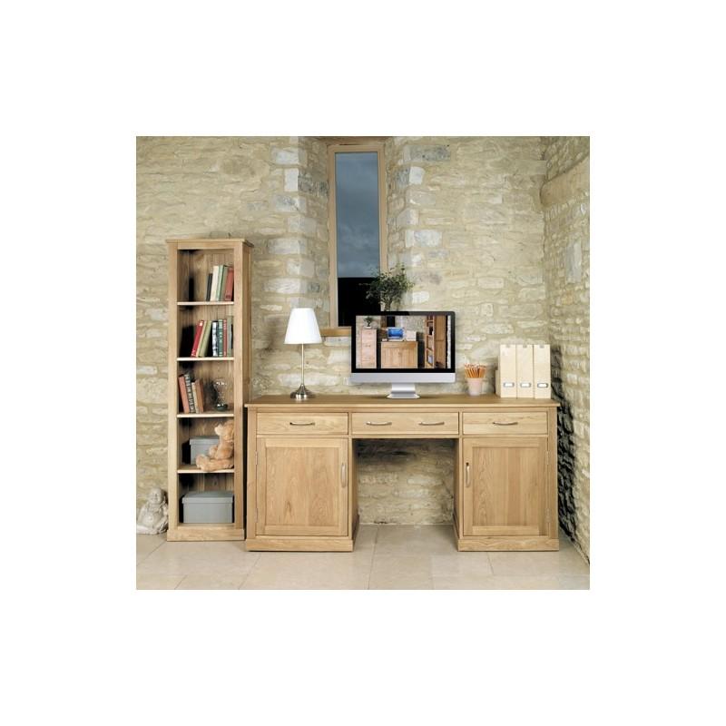 mobel oak large hidden office twin pedestal desk loading zoom