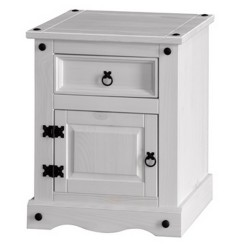 Corona White Wash 1 Door, 1 Drawer Bedside Cabinet