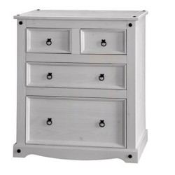 Corona White Wash 2+2 Drawer Chest