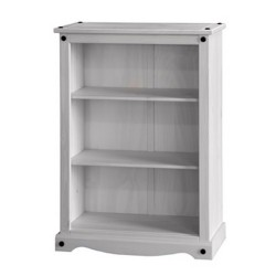 Corona White Wash Low Bookcase