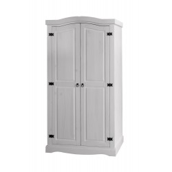 Corona White Wash 2 Door Wardrobe