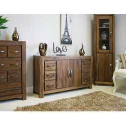 Mayan Walnut Six Drawer Sideboard
