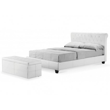 "Amalfi Bed 4ft6"" Double White Faux Leather"