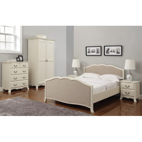 """Chantilly 5'0"""" KingSize Bed, Antique White Finish, Chic French Style, Authentic Feel"""