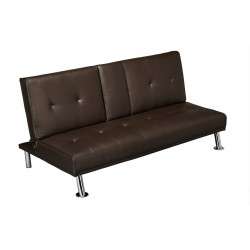 Cinema Sofa Bed, Brown Faux Leather, Pull Down Drink Holder.