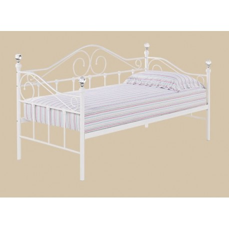 Florence Day Bed, White Finish, 4 Crystal Cornered Tops, Versatile Style