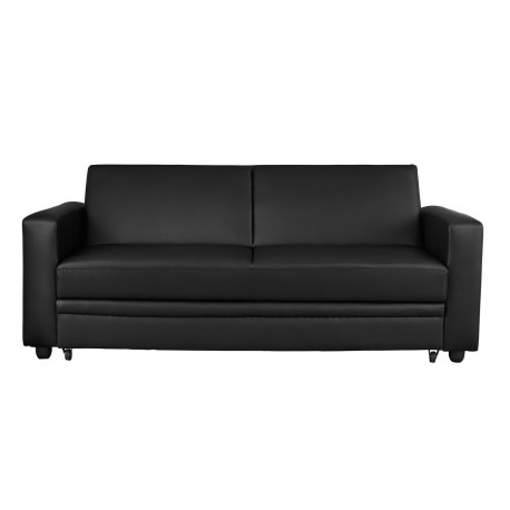 Detroit Sofa Bed, Black Faux Leather, Pull Out Storage Drawer On Castors