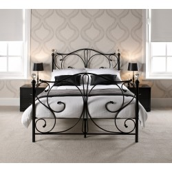 "Florence 5'0"" Kingsize Bed, Black Metal Finish, Crystal Finials"