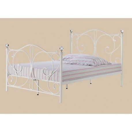 "Florence 4'6"" Double Bed, White Metal Finish, Crystal Finials"