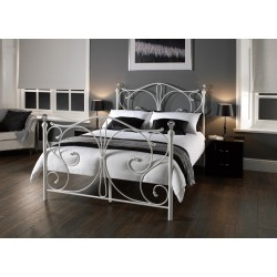 "Florence 5'0"" Kingsize Bed, White Metal Finish, Crystal Finials"