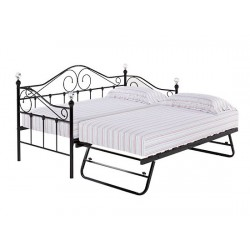Florence Trundle Bed, Black Metal Finish, Crystal Finials