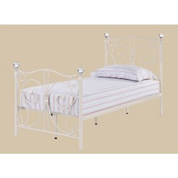 "FLorence 3'0"" Single Bed, White Metal Finish, Crystal Finials"