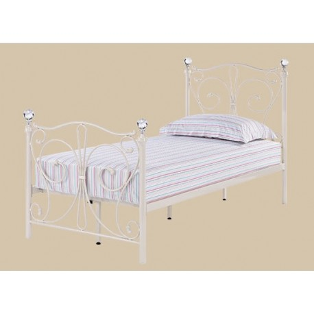 "Lovely FLorence 3 0"" Single Bed White Metal Finish Crystal Finials Modern - Fresh white metal bed frame For Your Plan"