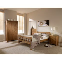 "Havana 4'6"" Double Bed, Solid Pine Wood, Contemporary Design"