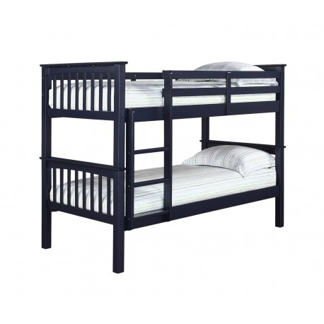 Leo Bunk Bed, Splits Into Two Separae Beds, Solid Navy Blue