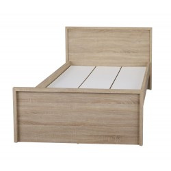 "Lexington 4'6"" Doube Bed, Simple Sleek Style, Oak Finish"