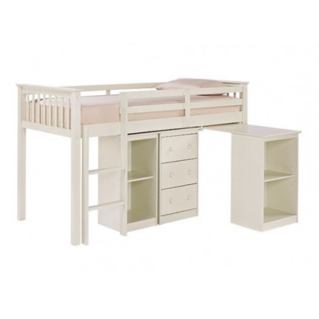 Milo Sleepstation, Pull Out Desk, 3 Drawers, Solid Off White