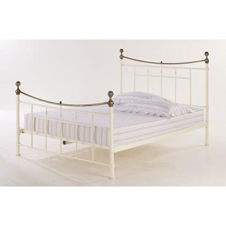 """Regency 5'0"""" Kingsize Bed, Brushed Brass Detail, Antique Cream Metal Finish"""