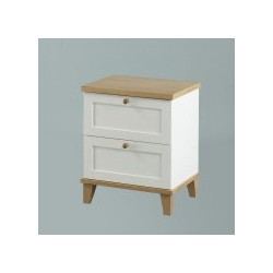 Boston 2 Drawer Bedside Table/Cabinet, Ash Veneer Tops and Trims, Classy Simple Style