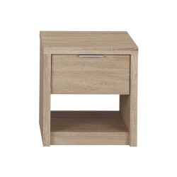 Lexington Bedside Cabinet/ Table, 1 Drawer + Shelf, Oak Finish