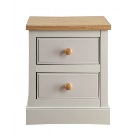 St Ives 2 Drawer Bedside Cabiinet in Dove Grey Finish with Real Ash Vaneers on Top
