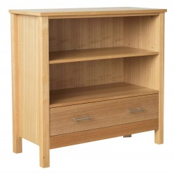 Oakridge Low Bookcase, 1 Drawer, Ash Venners With Oak Stain Furniture, Suites Any Style