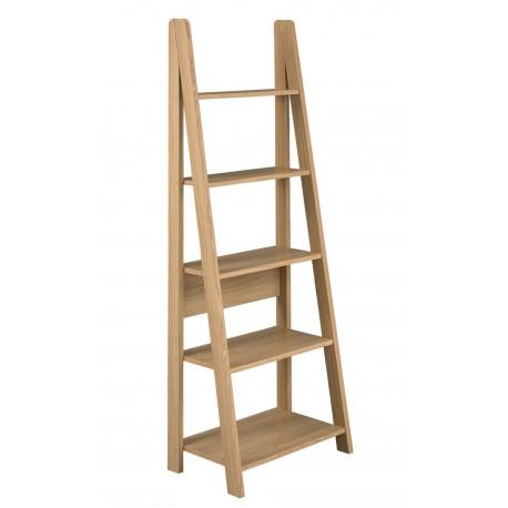 Tiva Ladder Bookcase in Oak Finish