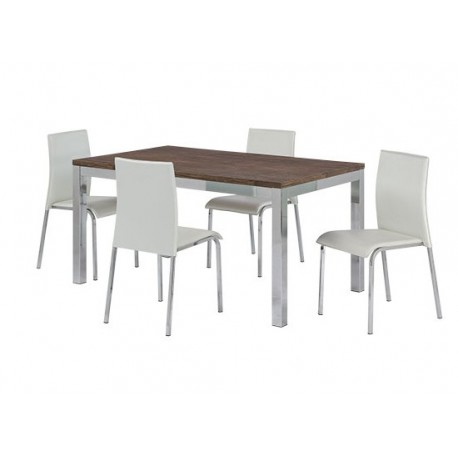 Amari Dinning Set, 4 Chairs, Subtle Chorme Feet