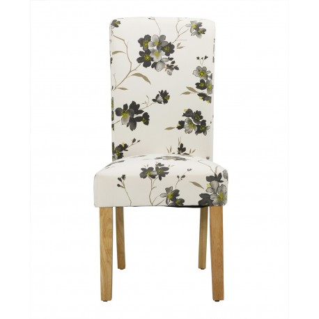 Freya Floral Dining Chair, Solid Wood Legs Pack of 2