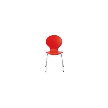 Ibiza Chairs, Red, Chrome Legs Pack of 4