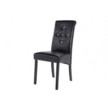 Monroe 2 Diamante Chairs, Black Faux Leather