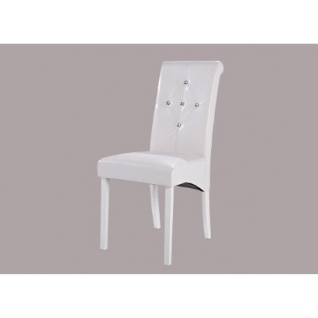 Monroe 2 Diamante Chairs, White Faux Leather