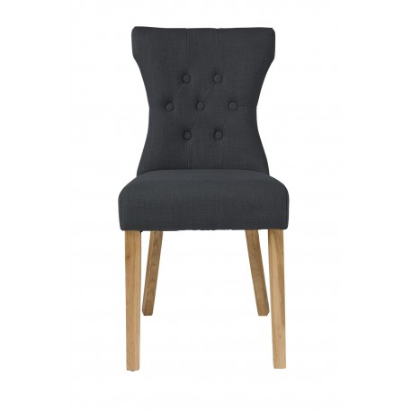 Naples 2 Chairs, Button Detail, Grey Linen Fabric, Solid Ash Legs
