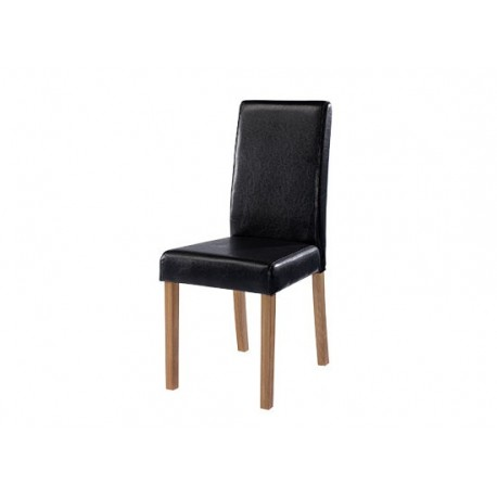 Oakridge 2 Chairs, Black Faux Leather, Solid Wood Legs