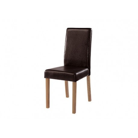 Oakridge 2 Chairs, Brown Faux Leather, Solid Wood Legs