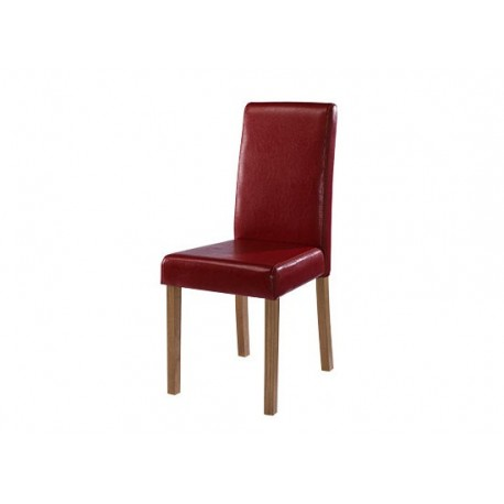 Oakridge 2 Chairs, Red Faux Leather, Solid Wood Legs