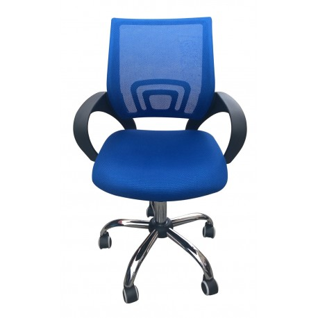 Tate Mesh Back Office Chair Blue, Adjustable Seat with Chrome Finish