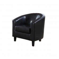 Stylish Tub Chair In Black Faux Leather